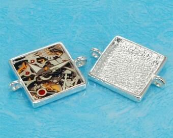 2pcs 25mm silvery white Pewter square Tray bezel blank Pendant