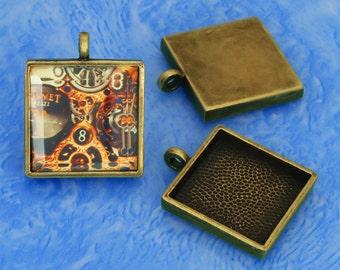 10pcs 25mm antique bronze  Pewter square Tray bezel blank Pendant