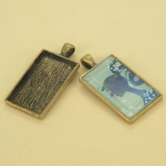 6 pcs 21X33mm Great rectangle antique bronze Pewter bezel blank Pendant Tray