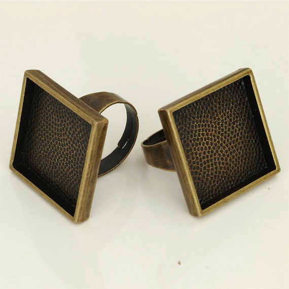 6pcs Deep bezel Trays square Adjustable antique bronze Pad blank RING Base