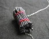 SALE - red sky - fabric bead