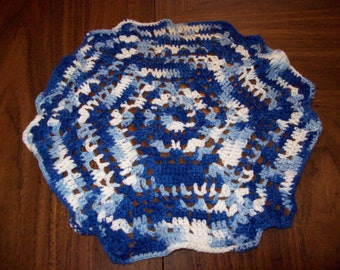 Blue and White Doily