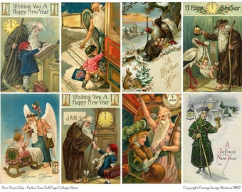 FATHER TIME Vintage New Years Postcards - Downloadable Full Page Collage Sheet