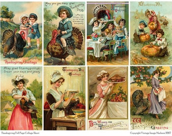 Vintage Thanksgiving Postcards 1 Collage Sheet - Instant Download