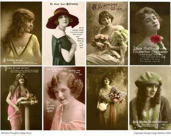 BIRTHDAY THOUGHTS Vintage Postcards - Instant Download Digital Collage Sheet