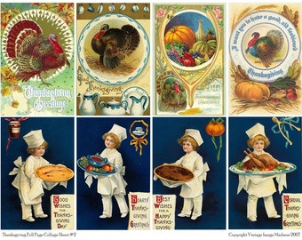 Vintage Thanksgiving Postcards 2 - Downloadable Full Page Collage Sheet