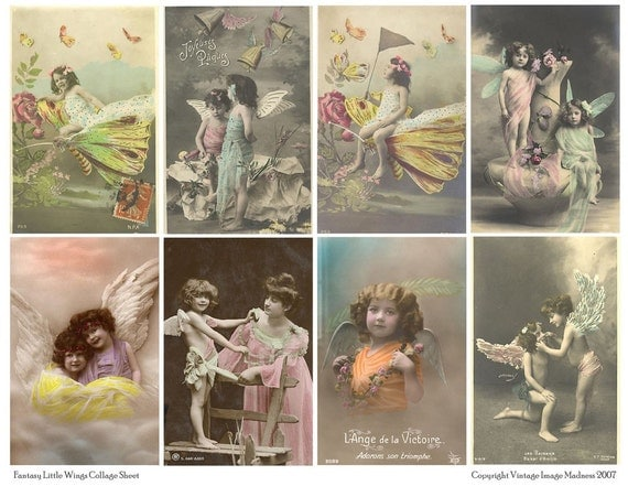 FANTASY LITTLE WINGS Vintage Postcards - Instant Download Digital Collage Sheet