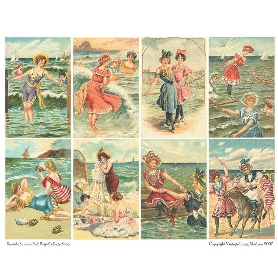 SEASIDE SUMMER Vintage Postcards by VintageImageMadness on ...