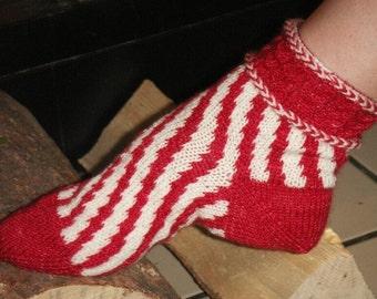 Peppermint Stick Socks Pattern--PDF