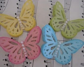 Sweet Spring Pink Blue Yellow Monarch Butterfly Embellishments Set of 4