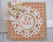 Shabby Pink Vintage Golden Heart Valentine mini Card FOR YOU