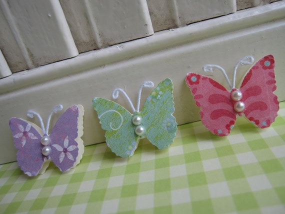 Sweet Pink Green Lavender Butterfly Embellishments