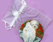 Mirror for Purse Pocket Havanese Dog in Poppies