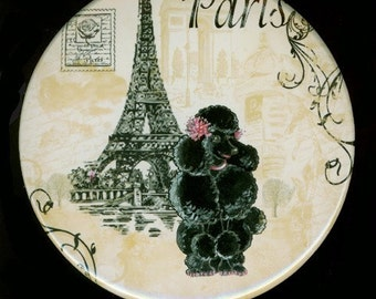 3.5 in Purse Pocket Mirror Black French Poodle n Eiffel Tower Vintage Style
