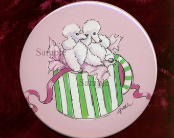 White Poodle in a Hatbox Retro Style Mirror
