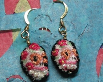Silk Sugar Skull Earrings