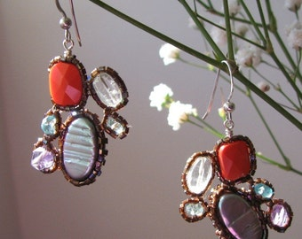 Beaded Gemstone Deco Echo Earrings
