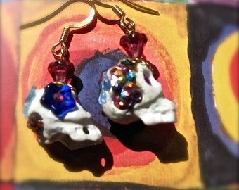 Floral Sugar Skull Earrings