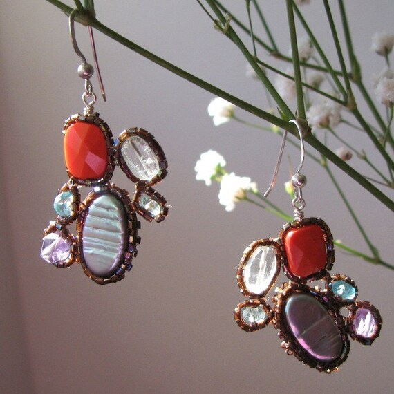 Beaded Gemstone Deco Echo Earrings
