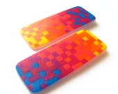 Large Pixel post earrings in magenta, blue, and orange ombre