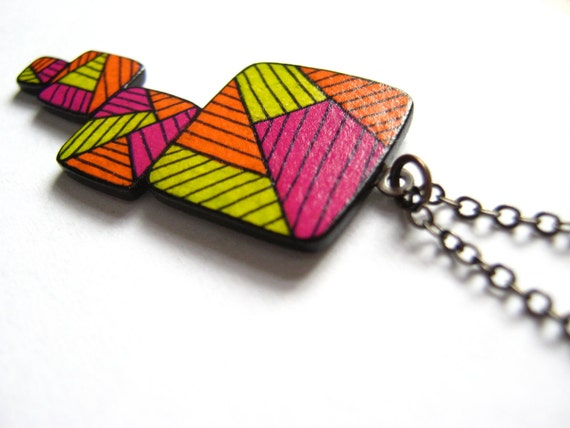 """Neon """"Stacked"""" Hand Drawn Doodle Necklace"""