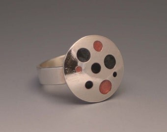 Pink, Black and Gray Spot Ring