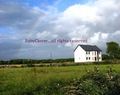 Rainbow on the Bog Road, GALWAY, Ireland Landscape Photo, Perfect Sunny Summer Day, Lucky Irish Rainbow over White Cottage with Red Door