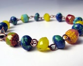Montserrat Bracelet with Multicolor Primary Color Czech Glass Beads, Turkey Turquoise and Copper