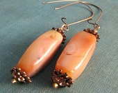 Peach Aventurine Earrings, Copper Elements, Large and In Charge, Apricot Gemstones, CEO Jewelry, Pretty Peach Earrings,Orange Cube Stones