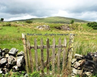 Primitive Gate, CONNEMARA, Ireland Landscape Photography, GALWAY Photo, Stone Wall, Pastoral, Countryside, Irish Scenery, Rolling Hills