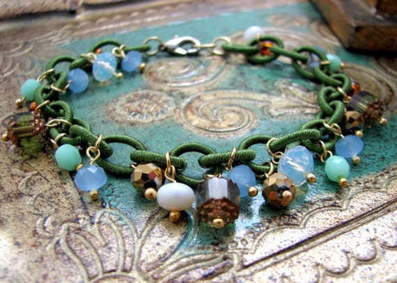 Irish Bracelet...Green Soft Chain and Czech Glass in Greens Blues and Opal