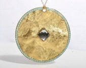 Rich Gold disk with Swarovski crystal Necklace by Zulasurfing