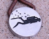 Scuba Diving Diver Pewter Round Pendant on 2mm brown color leather cord by ZulaSurfing