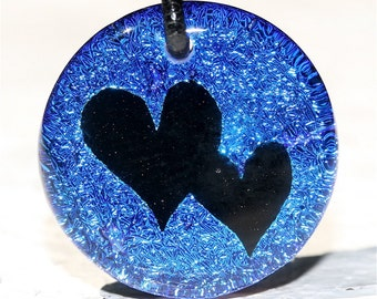 Blue Round Dichroic glass 2 Haert( love) Pendant with leather necklace