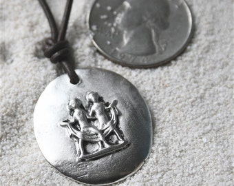 Gemini Zodiac Charm Pendant on leather Necklace by zulasurfing