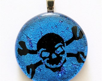 Beautiful Surfer Necklace Dichroic Glass Skull and cross bones Blue Color by zulasurfing