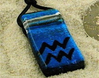 Zodiac Pendant Aquarius sign Blue Dichroic Glass Pendant with Greek leather cord