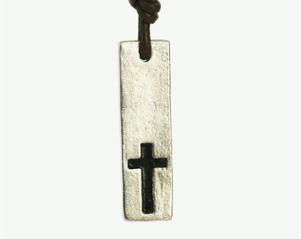 Surfer Necklace Cross pewter pendant on Distressed Leather Cord Surf Jewelry by Zulasurfing Abercrombie Fitch style