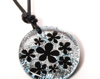 Silver Color Fused Dichroic Glass Pendant featuring flowers Hawaiian Jewelry by zulasurfing