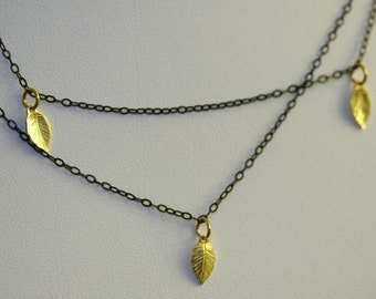 Antique 925 Sterling Silver Necklace with 18k Gold Vermeil leaves by zulasurfing