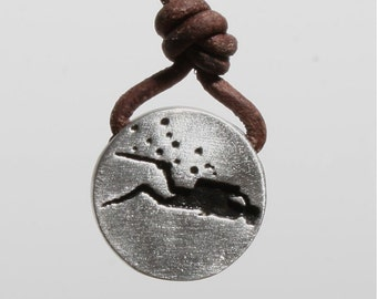 Scuba Diving Diver Pendant Scuba jewelry Pewter and Leather Necklace   Now 12% off