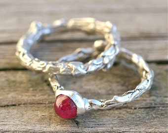 Sterling silver bush branch and ruby wedding ring set by zulasurfing  great