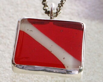 Scuba Diving Down flag Fused Glass Pendant set in sterling silver Bezel by zulasurfing