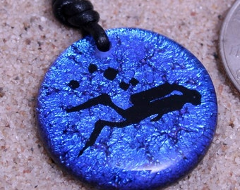 Scuba Diving Dichroic Glass Pendant Blue color with leather necklace made by ZulaSurfing