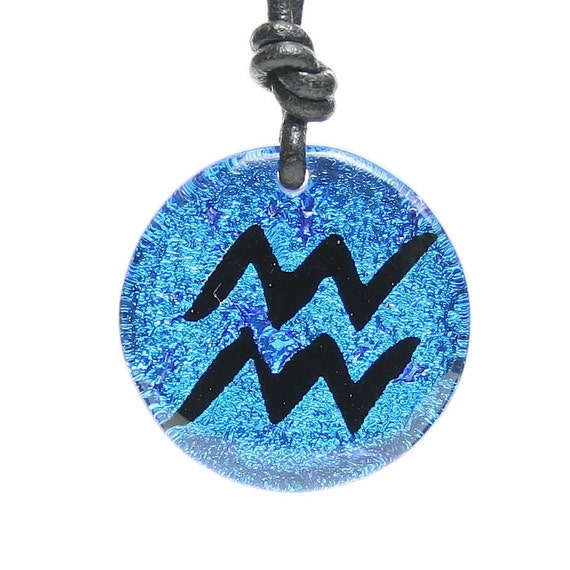 Zodiac Pendant Aquarius Sign Blue Fused Dichroic Glass Pendant with Black leather cord by zulasurfing