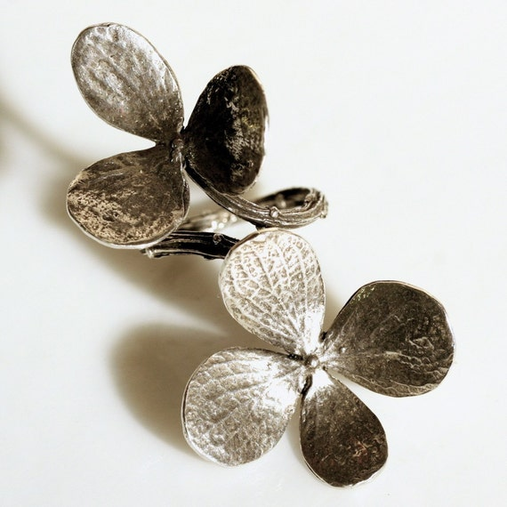 Double flower and branch ring is solid sterling silver