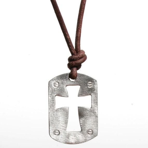 Surfer Necklace Mens Cross on Distressed Leather Cord Surf Jewelry by Zulasurfing Abercrombie Fitch style