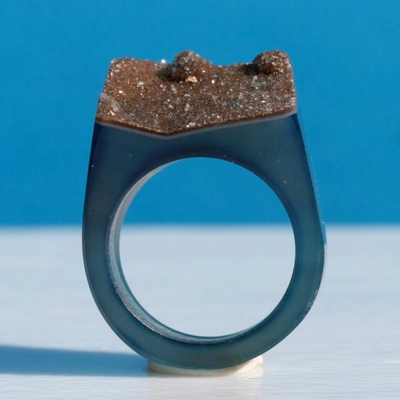 Beautiful blue Druzy ring size 7 3/4 As seen in Lucky Magazine by Zulasurfing