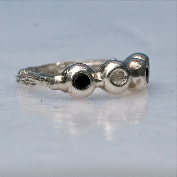 Unique Sterling Silver Diamond and Sapphire Anniversary Band size 7 by Zulasurfing