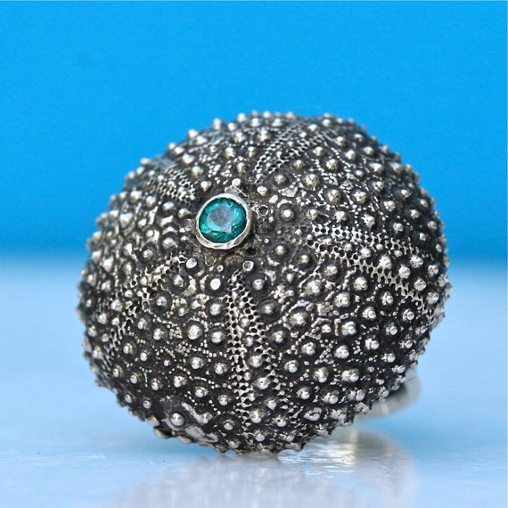 Sterling Silver Sea Urchin adjustable Ring with an Aqua Blue Green Topaz by Zulasurfing great valentines day gift
